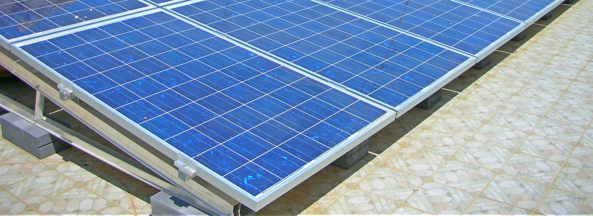 Polycrystalline panels on terrace